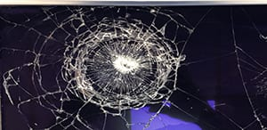 A cracked or damaged touchscreen is a safety issue